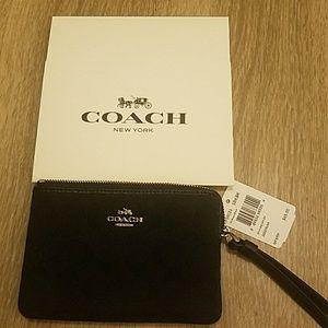 NWT coach wristlet black on black canvas monogram